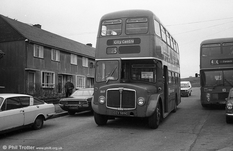 AEC Regent V/Willowbrook H37/27F 869 (CCY 989C) at Blaen y Maes during the final tour of February 27th 1982.