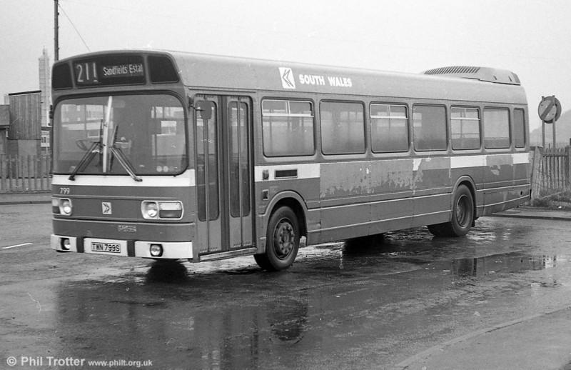 Leyland National B52F 799 (TWN 799S) at Port Talbot.