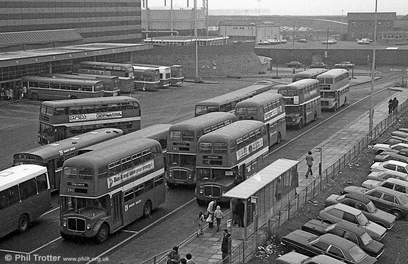 The surviving AEC Regents lined up at Swansea Bus station during the final tour of February 27th 1982.