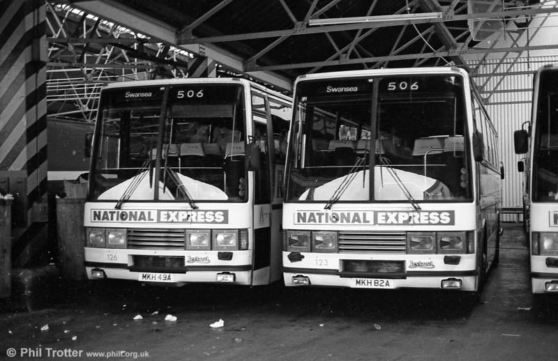 126 and 123 (MKH 49/82A), Leyland Tiger/Duple Caribbean C46FT at Brunswick Street.