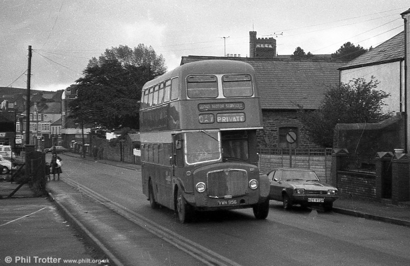 AEC Regent V 2D3RA / Willowbrook H39/32F 540 (VWN 956) with Llynfi, Maesteg. By the end of 1980, 1960 Willowbrook bodied AEC Regent Vs 540/1 (VWN 956/7) which passed to Llynfi Motors, Maesteg in 1971 were still very active with that company; by then they had been with Llynfi for almost as long as they were with South Wales!