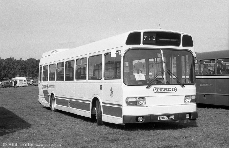 713 (LWN 713L), a Leyland National B52F seen wafter sale to Tappins for a Tesco contract.