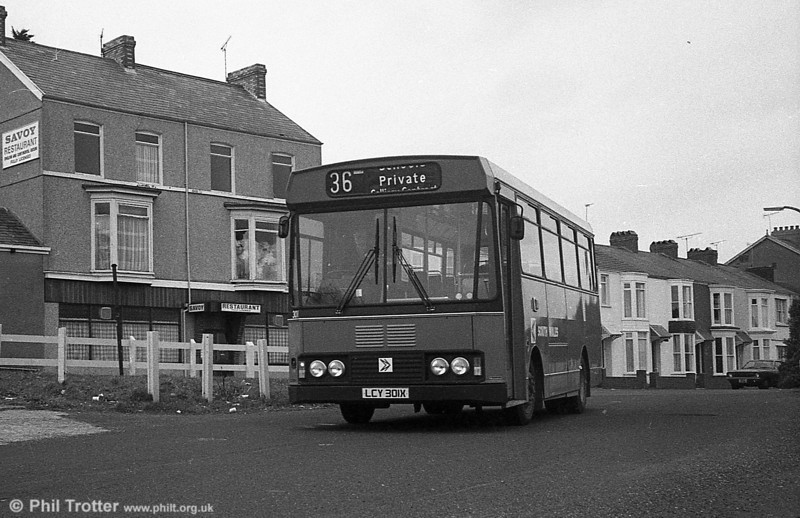 301 (LCY 301X), a Bedford YMQ/S with Lex B37F at Oystermouth.