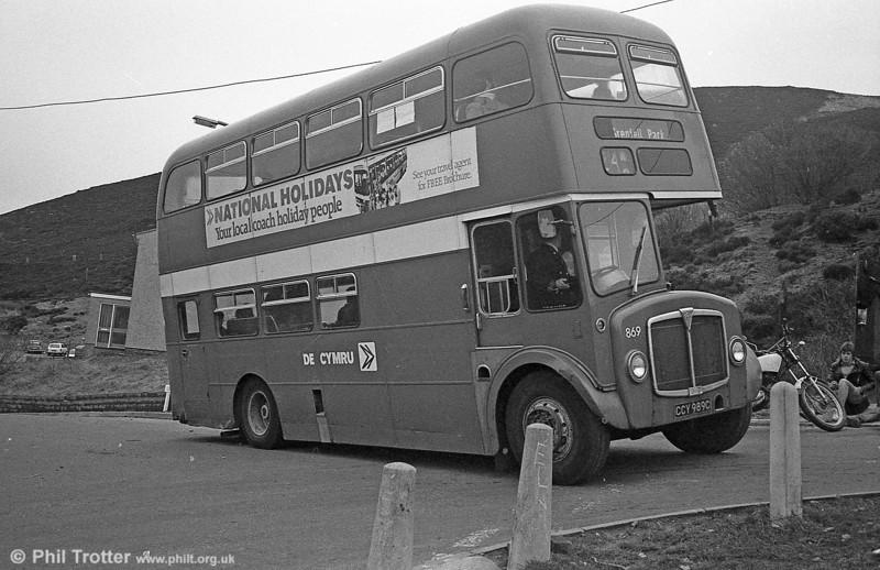AEC Regent V/Willowbrook H37/27F 869 (CCY 989C) at Grenfell Park during the final tour of February 27th 1982.