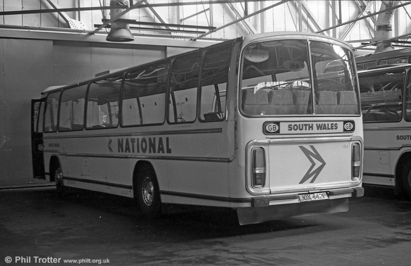 184 (JOX 442P), a Leyland Leopard/Plaxton C47F, acquired from Midland Red in 1976.