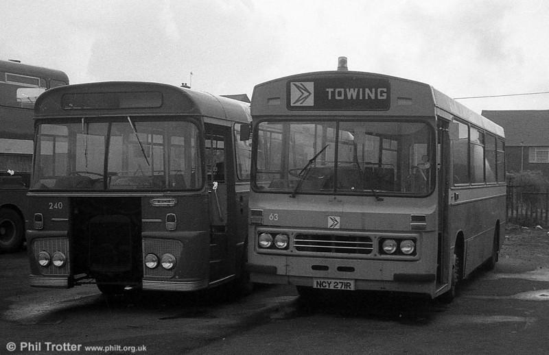 Ford R1014/Duple B43F 271 (NCY 271R) cut down for use as a towing bus at Port Talbot.