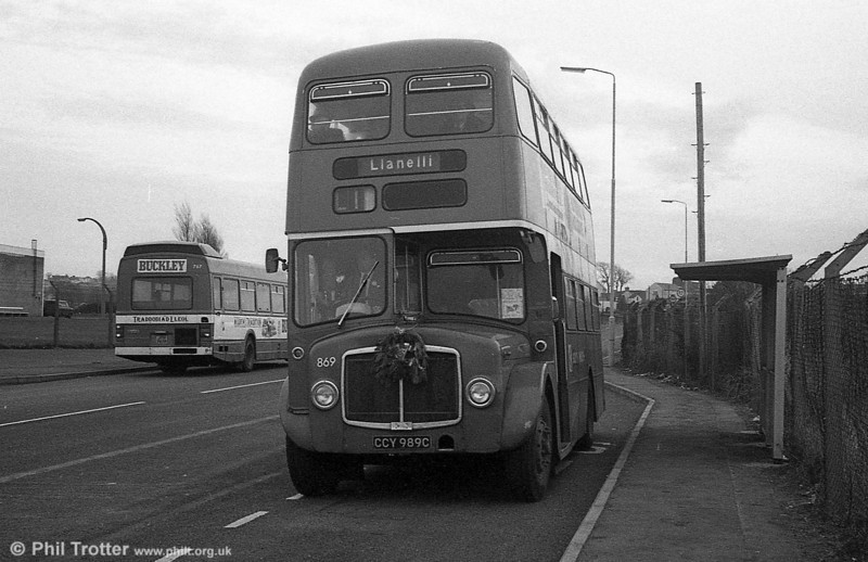 AEC Regent V/Willowbrook H37/27F 869 (CCY 989C) at Loughor during the farewell tour of December 19th 1981.