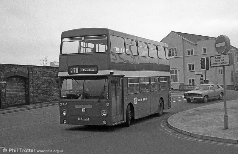 Daimler Fleetline/MCW H44/32F 858 (KJD 19P), formerly LT DMS2019 at Swansea.
