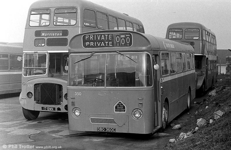 350 (DBO 360C), a Leyland Tiger Cub / Park Royal B43F , ex-Western Welsh.