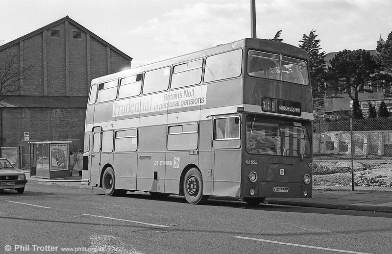 Daimler Fleetline/MCW H44/32F 855 (KUC 956P), formerly LT DMS1956 on hire to National Welsh at Barry.