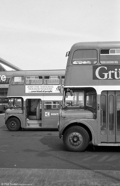 Two AEC Regent V/Willowbrook H37/27F at Swansea.
