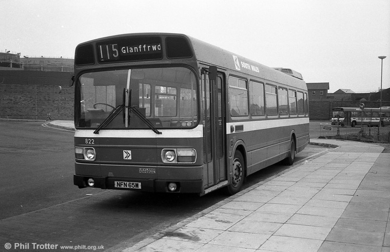 Leyland National B52F 822 (NFN 65M), ex-East Kent 1065 at Swansea.