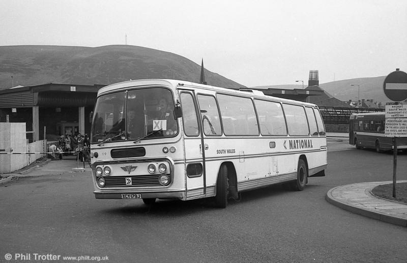 179 (XCY 179J), an AEC Reliance/Plaxton C44F on service X1 at Port Talbot.