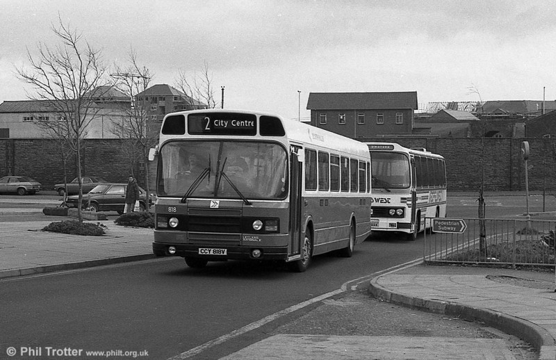 Leyland National 2/B52F 818 (CCY 818V) in DP livery at Swansea.