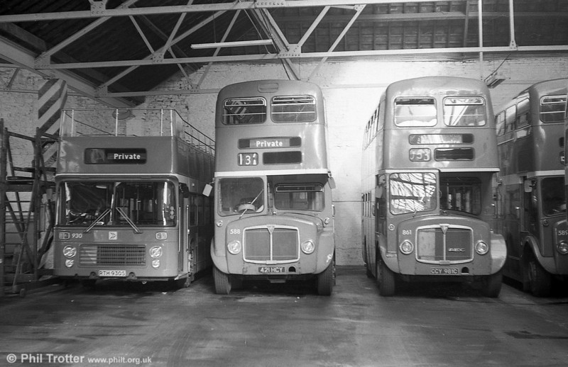 1964 AEC Regent V/Weymann H39/32F 588 (421 HCY) at Brunswick St. in the company of convertible VRT 930 and AEC Regent 861.