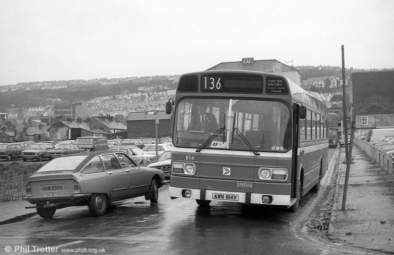 Leyland National/B52F 814 (AWN 814V) at Swansea.