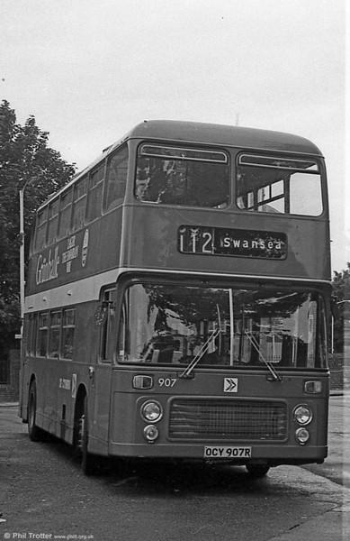Bristol VRT/ECW H43/31F 907 (OCY 907R) at Llanelli.