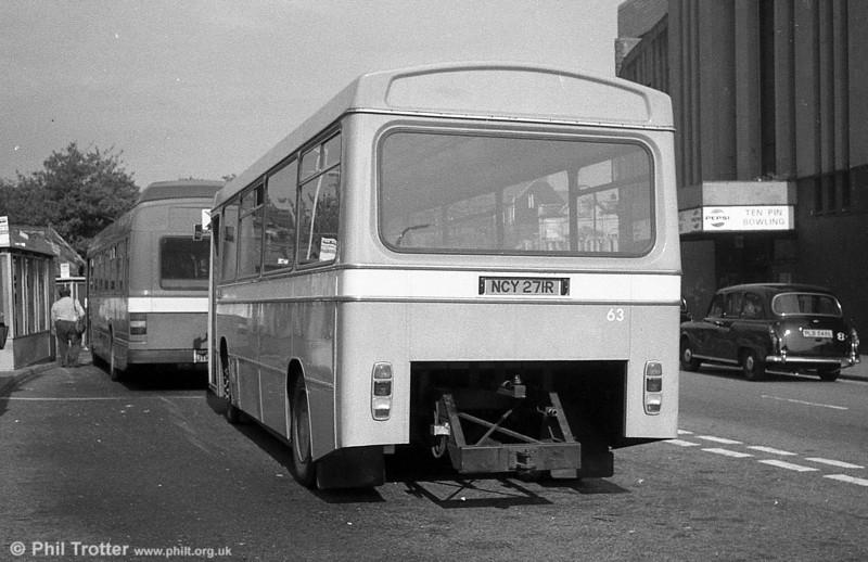 Ford R1014/Duple B43F 271 (NCY 271R) cut down for use as a towing bus at Llanelli.
