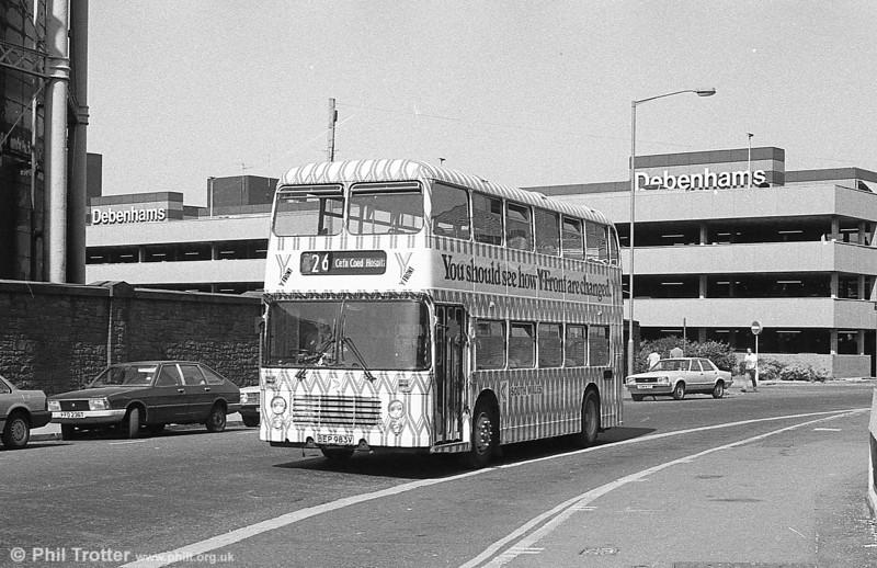Bristol VRT SL3/ECW H43/31F 983 (BEP 983V) in Y fronts livery at Swansea.