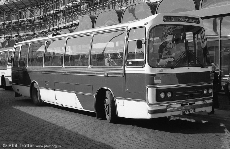 Leyland Leopard/Duple DP49F 168 (NCY 475R) in partly completed local livery at Cardiff.