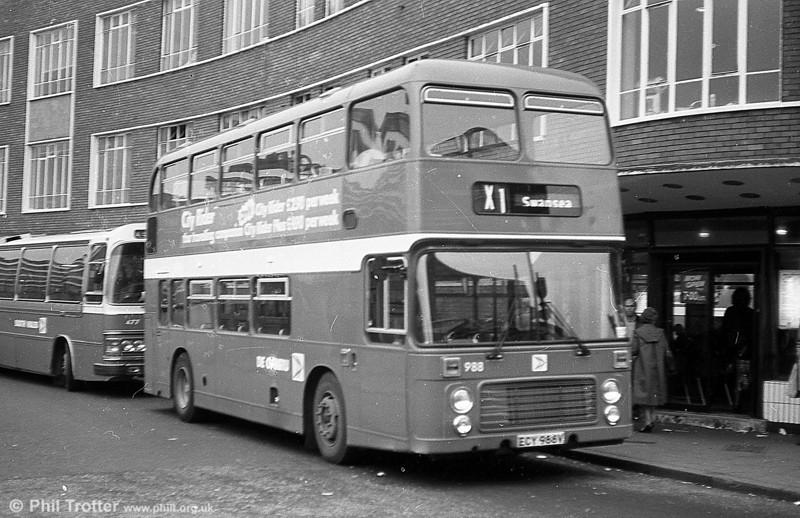 Bristol VRT 988 (ECY 988V) at Cardiff Bus Station. The appearance of VRTs on service X1 was a regular practice at weekends and when international rugby matches were being played at Cardiff.