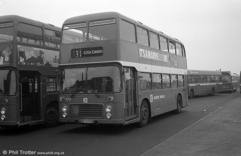 Bristol VRTs 970-973 entered service during the week ending 8th March 1980, resulting in the withdrawal of a number of AEC Regent Vs. 970 (BEP 970V) is seen at the Quadrant Bus Station.