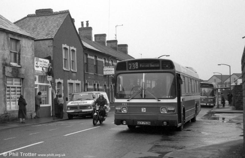 753 (GCY 753N), a Leyland National B52F at Port Talbot.