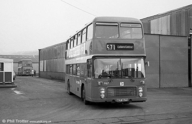 Bristol VRT SL3/ECW H43/31F 967 (BEP 967V) at Pontardawe.