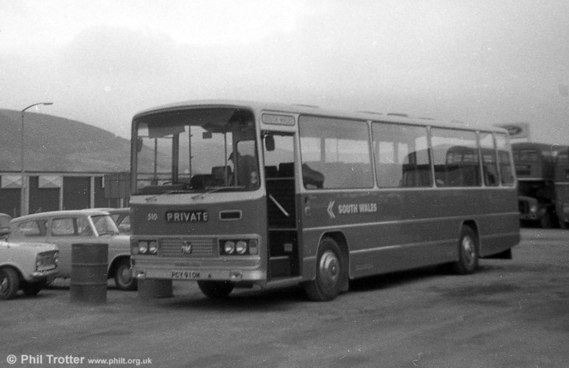 510 (PCY 910M), a 1973 Bedford YRT/Willowbrook DP51F at Port Talbot.