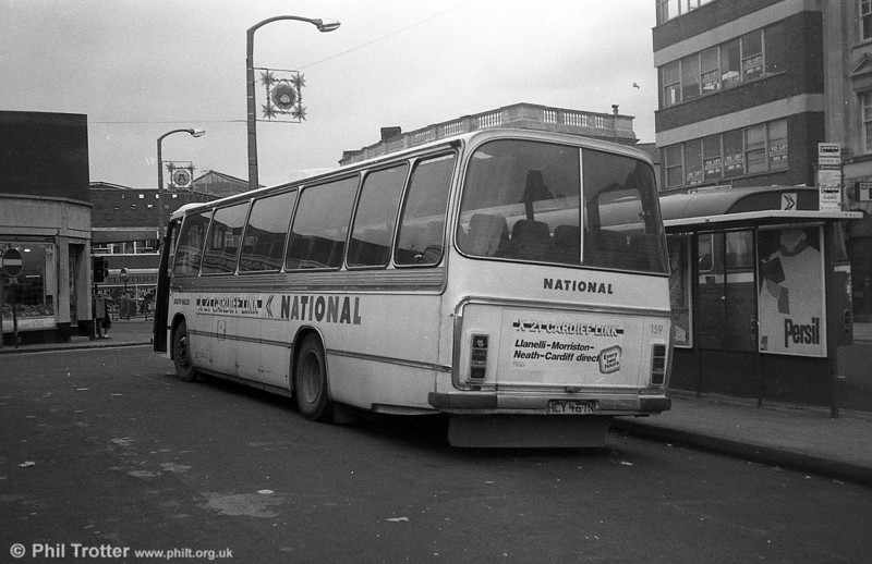 AEC Reliance/Duple DP51F 159 (HCY 467N) in X21 'Cardiff Link' livery at Neath.