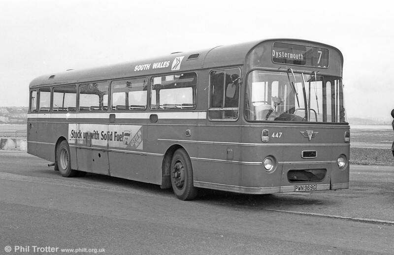 447 (PWN 969G) was a 1969 AEC Reliance 6MU2R with a Marshall B52F body at Oystermouth.
