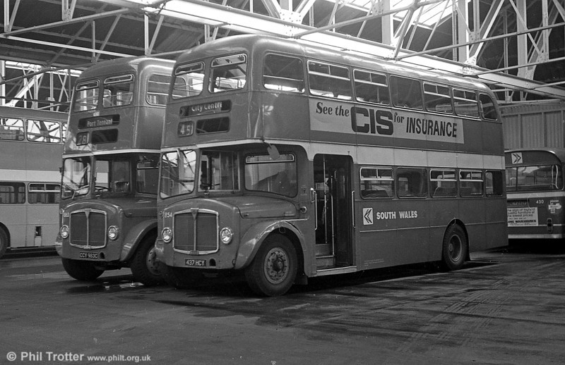 1964 AEC Regent V/Willowbrook H39/32F 854 (ex-604) (437 HCY) at Ravenhill.
