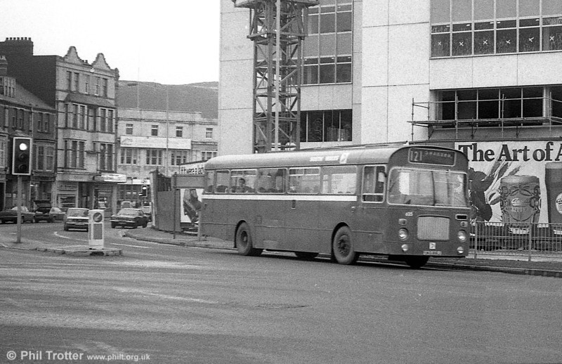 Bristol RELL6L/Marshall B51F 635 (UKG 816J) at Alexandra Road, Swansea. The older buildings to the rear have since been demolished.