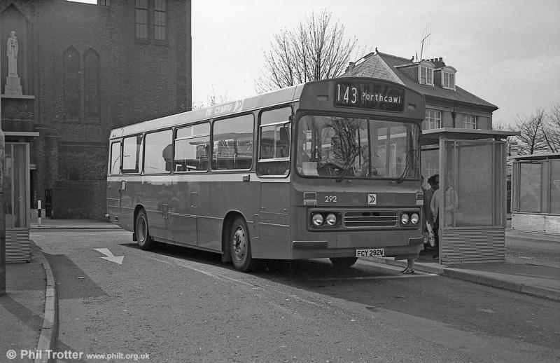 1981 Bedford YMQ/Duple B43F 292 (FCY 292W) at Llanelli.