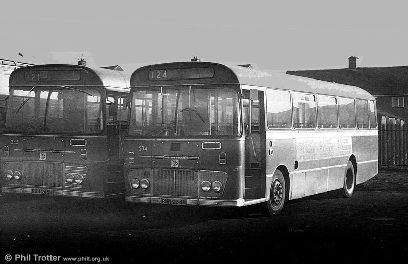 Ford R1014/Willowbrook B45Fs 245 (RWN 245M) and 234 (PWN 234M)  at Ravenhill.