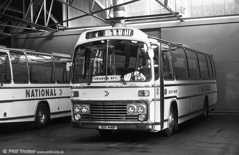 183 (JOX 441P), a Leyland Leopard/Plaxton C47F, acquired from Midland Red in 1976.