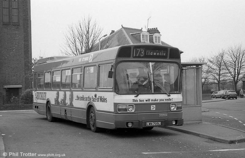 705 (LWN 705L), a Leyland National B52F seen at Llanelli.
