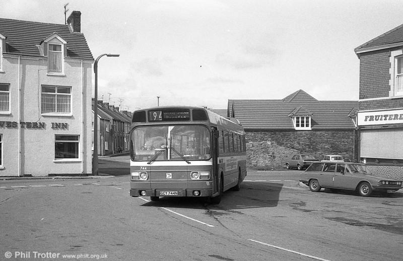 744 (GCY 744N), a Leyland National B52F near Llanelli Station.