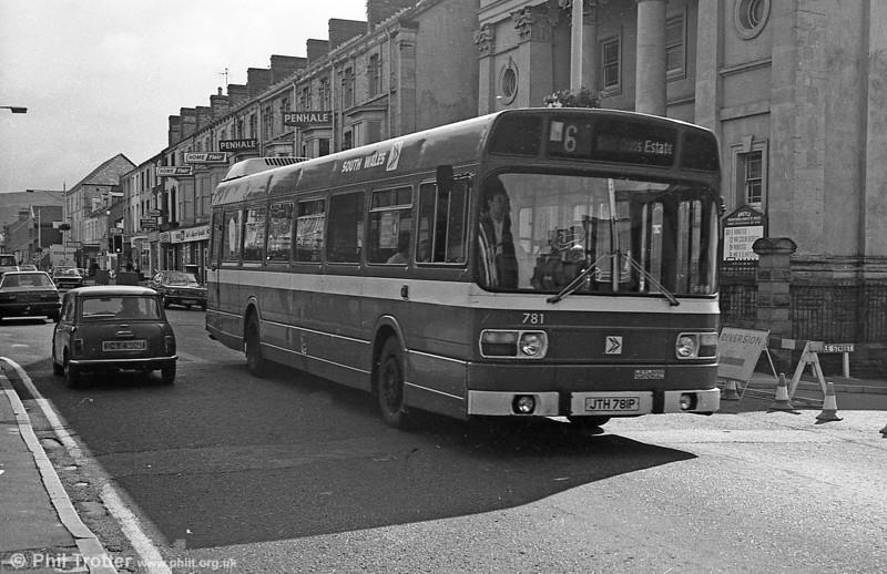 Leyland National/B52F 781 (JTH 781P) at Swansea.