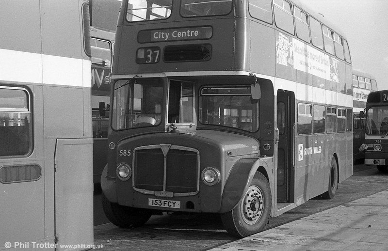 AEC Regent V/Willowbrook H39/32F 585 (153 FCY) at Swansea.
