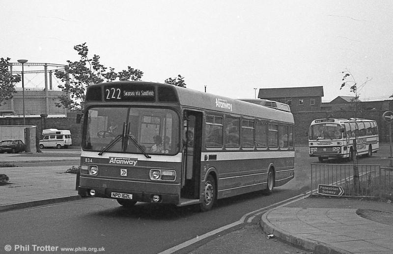 Leyland National B52F 834 (NPD 162L), ex-London Country LNB62 at Swansea.