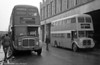 AEC Regent V/Willowbrook H37/27F 869 (CCY 989C) and former 564 (999BCY) at Swansea during the final tour of February 27th 1982.