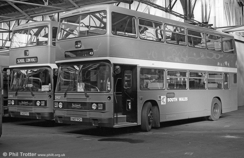 907 (C907 FCY) a 1985 Leyland Olympian/ECW H45/30F at Ravenhill with 902.
