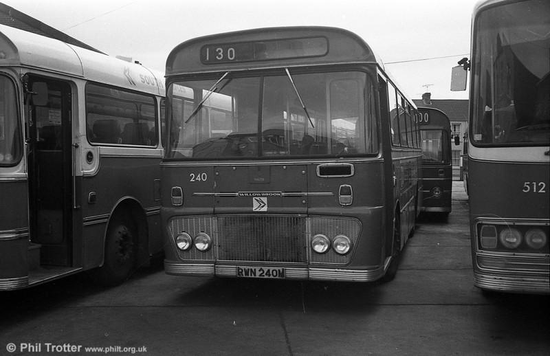 Ford R1014/Willowbrook B45F 240 (RWN 240M) at Llanelli.