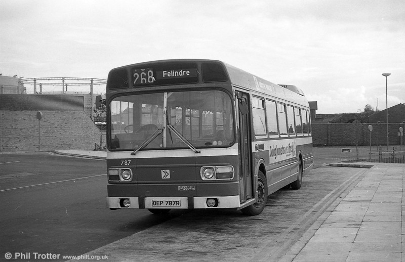 Leyland National B52F 787 (OEP 787R) at Swansea.