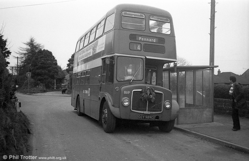 AEC Regent V/Willowbrook H37/27F 869 (CCY 989C) at Bishopston during the farewell tour of December 19th 1981.