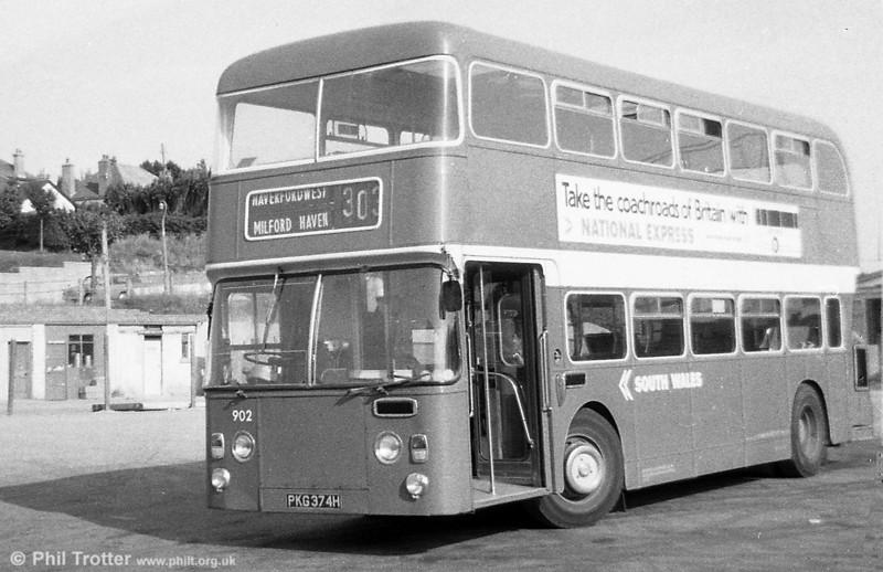 Ex-Western Welsh Leyland Atlantean/Northern Counties H41/32F 902 (PKG 374H) at Haverfordwest.