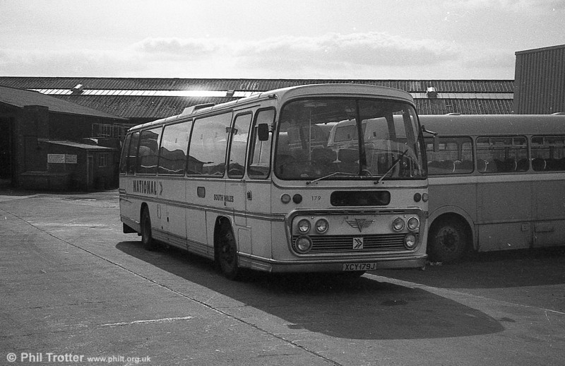 179 (XCY 179J), an AEC Reliance/Plaxton C44F at Ravenhill.