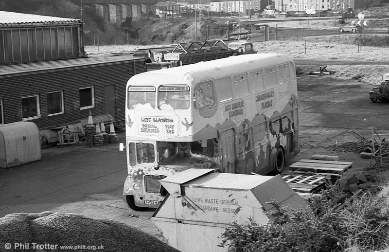 Former SWT 970 (125 FCY), a Bristol FLF6B / ECW H38/32F converted to a play bus parked at the WGCC yard at Ynysforgan. This was formerly United Welsh 377.