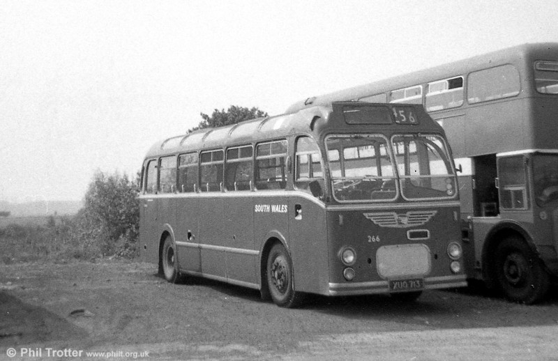 266 (XUO 713) was a former Western National/Royal Blue Bristol MW6G / ECW C41F acquired in 1971. It was one of a number of coaches converted for bus use at this time with bus seats, bus type indicators and power operated doors.